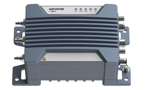 Front angle view of the Ibex-RT-330 EN 50155 Mobile LTE Router by Westermo.