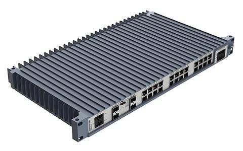Westermo Industrial Rackmount Switch Redfox-5528-F4G-T24G top left angle view.