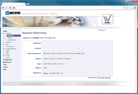 WeOS Westermo operating system interface.